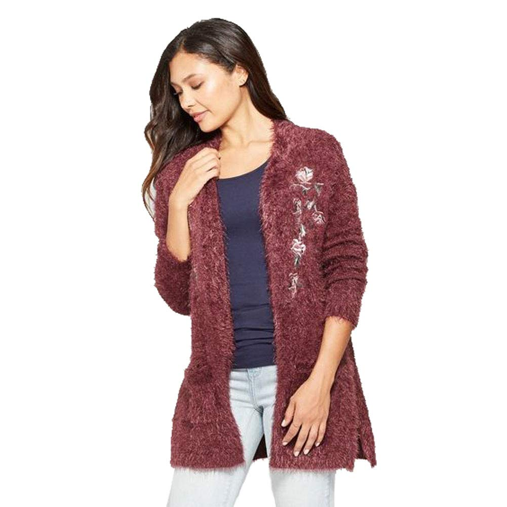 Knox Rose Women\u0027s Floral Print Long Sleeve Embroidered Open