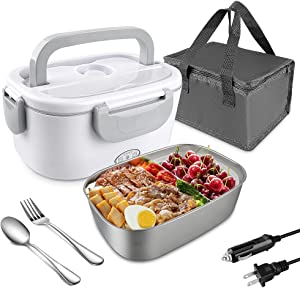 Electric Lunch Box for Car/Truck and Work,Synmixx Portable Food Warmer Heater 110V 12V-24V 40W with 1.5L Removable Food Grade 304 Stainless Steel (Premium Grey)