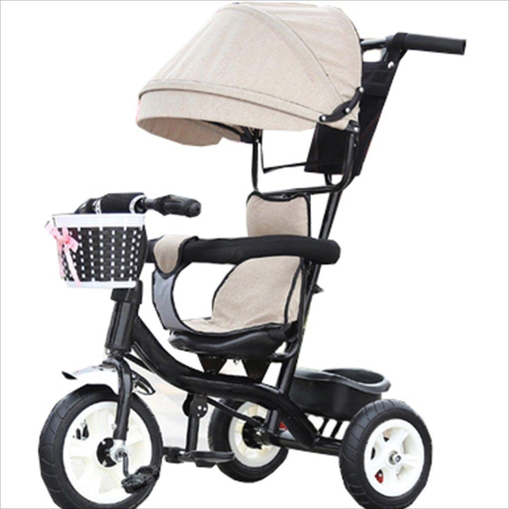 子供の屋内屋外の小さな三輪車の自転車の男の子の自転車の自転車6ヶ月 6歳の赤ちゃんの3つのホイールトロリー天井、ゴムホイール(ベージュ、ブラック) B07DVHK9Z1