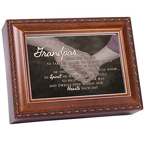 Grandpa Bereavement Rich Woodgrain Finish Jewelry Music Box - Plays Amazing -