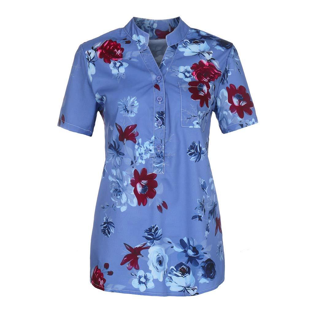 Blouse Shirts for Women Plus Size Hosamtel Floral Print V-Neck Button Pocket Short Sleeve Summer Vintage Elegant Casual Tops
