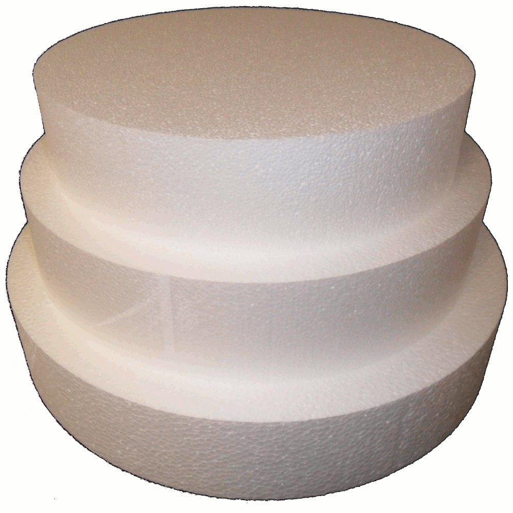 Round 5'' Cake Dummies - Set Of 3, Each 5'' High By 12'', 14'', 16'' Round