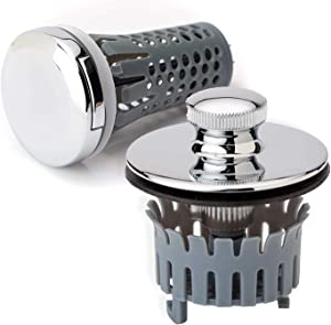 Drain Buddy No Installation Clog Preventing Bathroom Sink and Tub Stopper/Strainer Set | Chrome Plated Caps