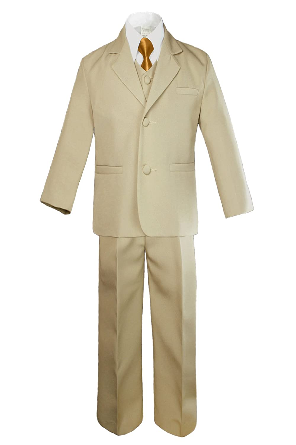 Unotux 6pc Boys Khaki Vest Set Suits with Satin Gold Necktie Outfits Baby Teen