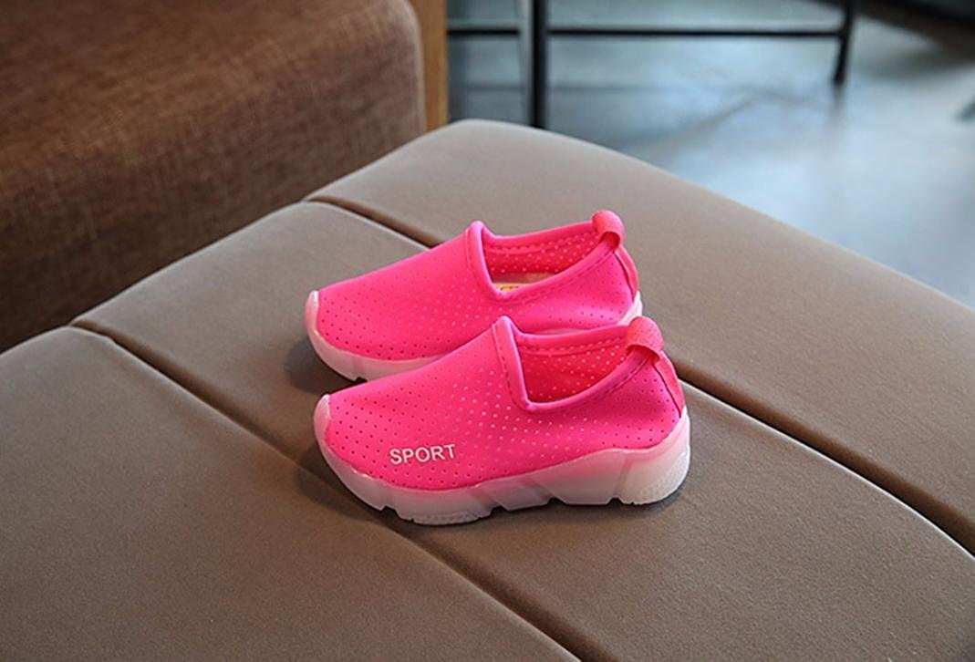 FORESTIME Kids Baby Boys Girls Breathable Rubber Sole LED Light Athletic Running Sneaker Shoes