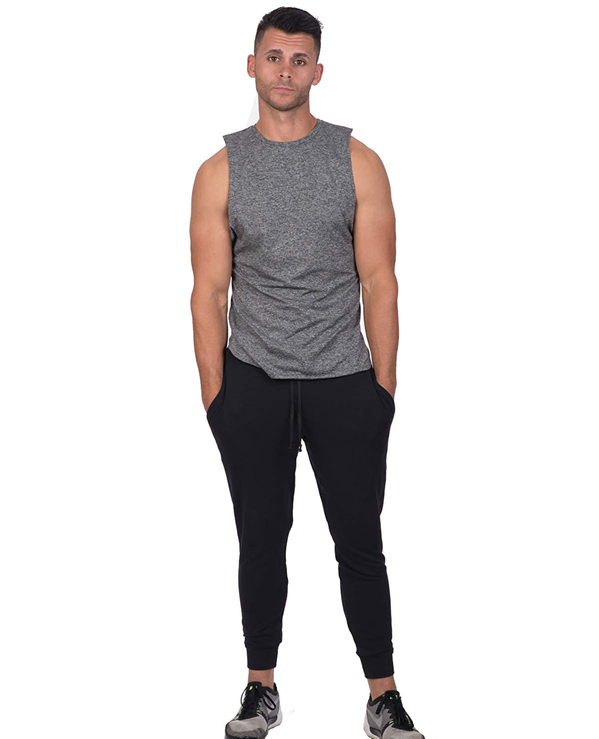 Attitude Apparel Grey Athletic Quick Dry Sleeveless Workout Running Muscle Tank Top Shirt for Men