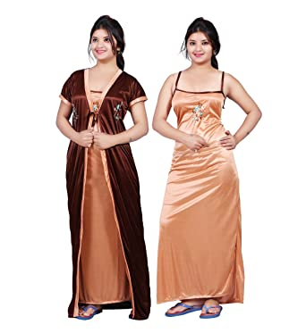 6100125dab Bailey Women's Satin Combo Of Night Dress (Bailey0151_Brown_Free Size)