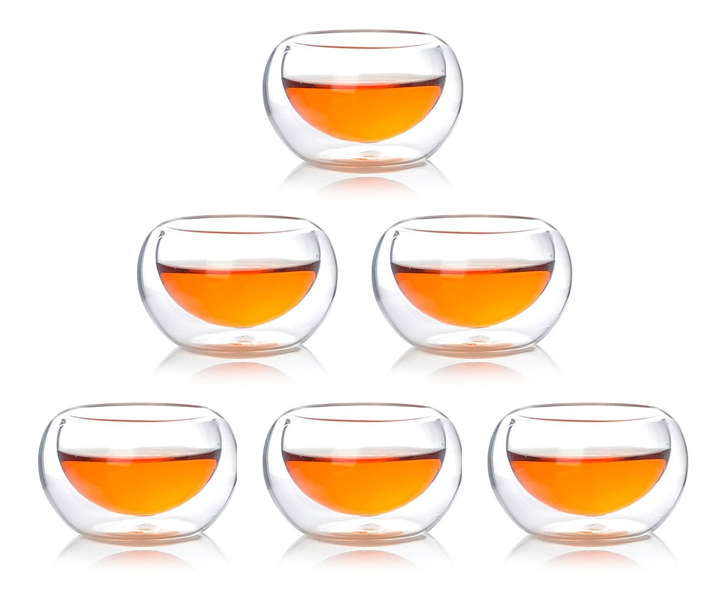 Atlantic Collectibles Heat Thermal Resistant Double Wall Insulated Glass Sake or Tea Cup Set of 6 Cups Drinks Kitchen Decor Party Accessory