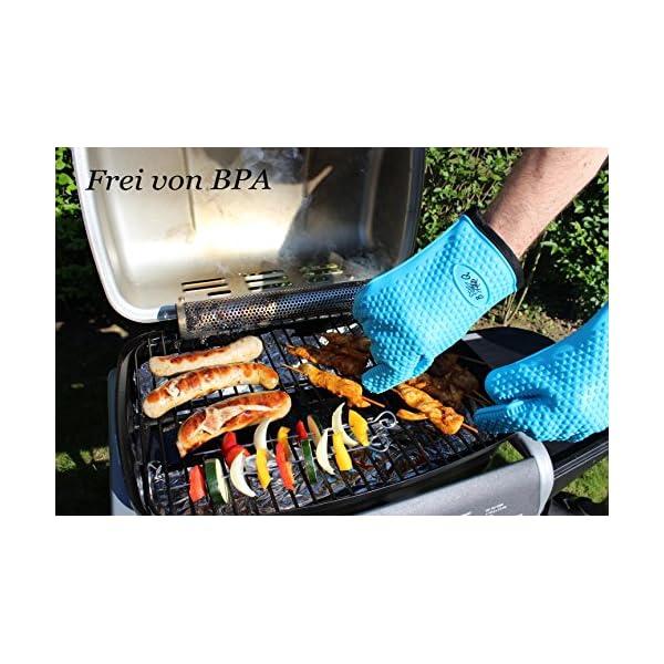 BBeeQ® - Set di due guanti da forno in silicone e cotone, in 7colori, resistenti al calore fino a 300°C, per grigliare, cucinare, mettere in forno. Guanti da cucina, guanti per barbecue., Blau 3 spesavip