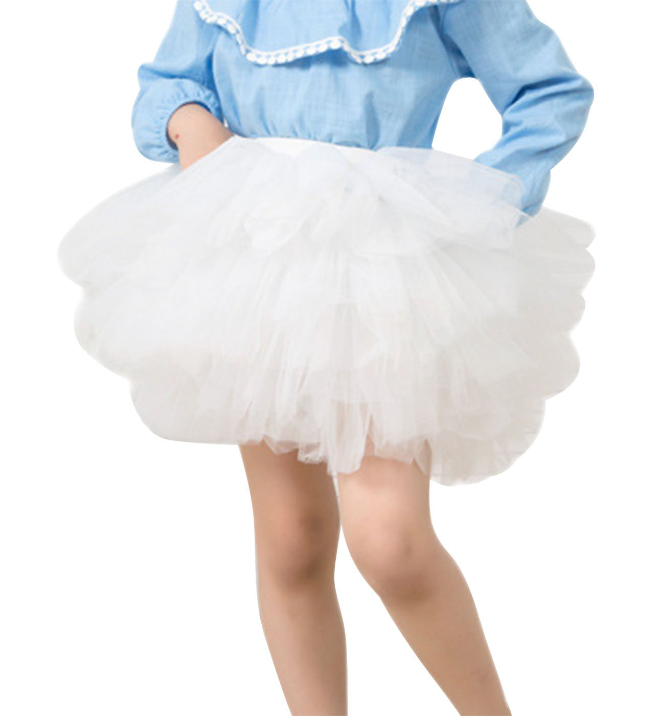 Aivtalk Girls Fluffy Skirt Photography Princess Tutu Cotton Lining Ballet Tiered 2-3T White