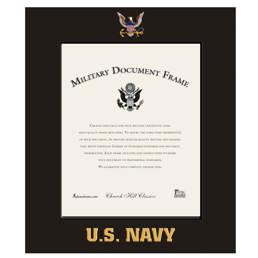 Church Hill Classics US Navy Certificate Frame/Photo Frame - Wall Hanging, Black, Vertical Orientation - Official Navy Logo and Word Mark (Certificate/Photo Size 11''x14'')