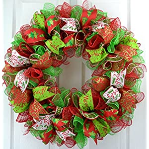 Christmas Wreath | Christmas Decoration | Mesh Outdoor Front Door Wreath | Red Lime Green White : C1 107