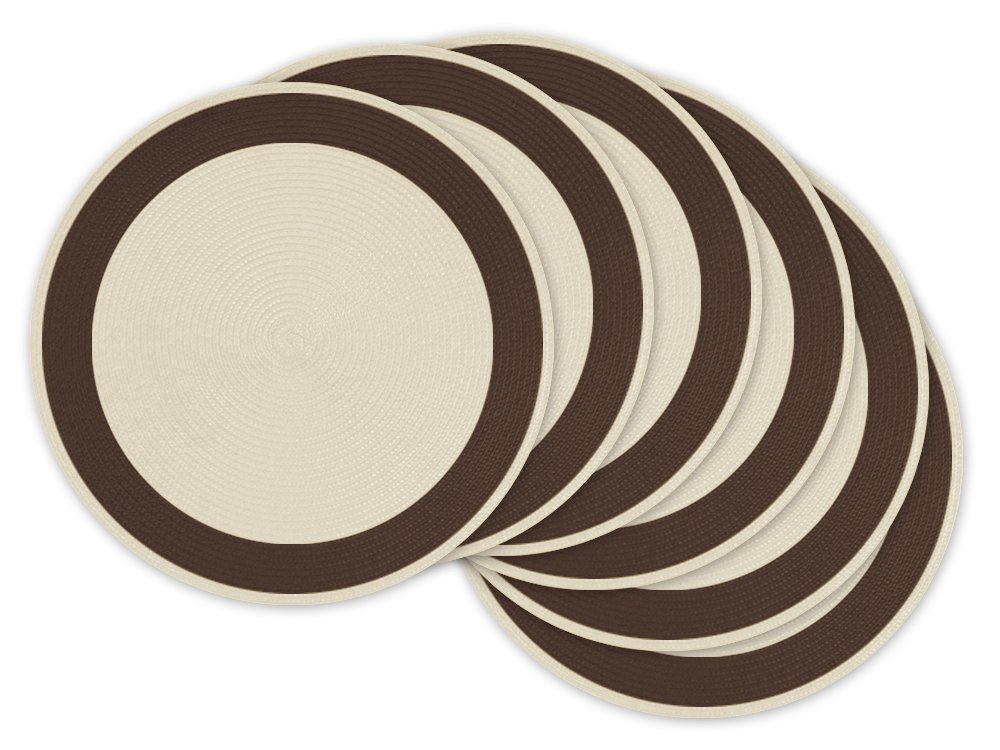 DII Braided Round Woven Placemat/Charger for Indoor or Outdoor Use, Add Color to Holiday Parties, BBQs, Weddings, or Everyday Meals (Set of 6) Cream with Brown Border