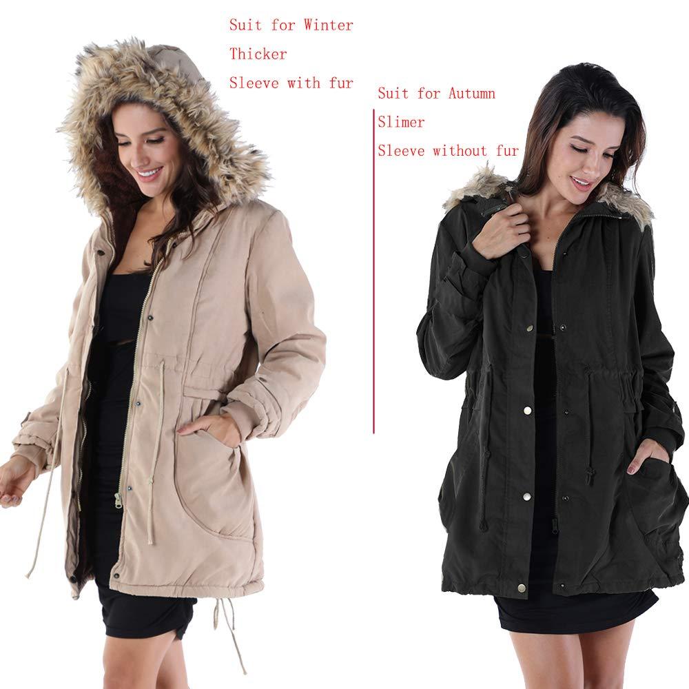 OMONSIM Women Hoodie Zip Up Fur Coat Autumn Winter Warm Jacket Plus Size Parka Outwear (XX-Large, Thick_Black) by OMONSIM (Image #3)