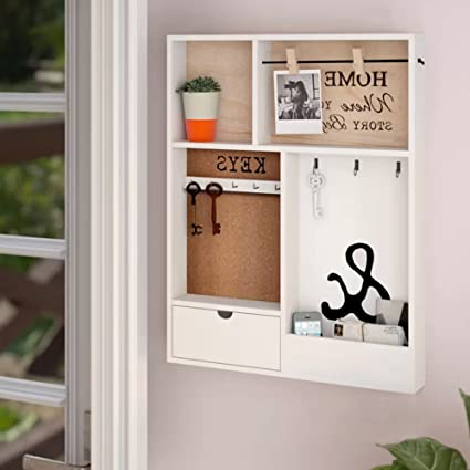 Amazoncom Small Entryway Wall Shelf With Cubbies White 4 Cube