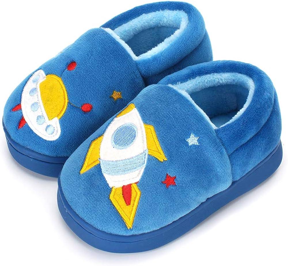 ESTAMICO Boys Girls Warm Slippers Cartoon Car Kids Winter Indoor Household Shoes