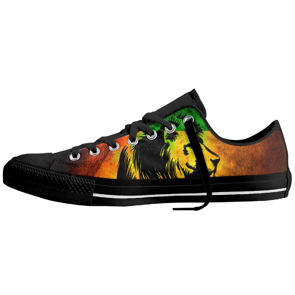6a59561bf370e Amazon.com  REGGAE RASTA LION Unisex Classic Canvas Lace Up Shoes Sneakers  For Men   Women  Clothing