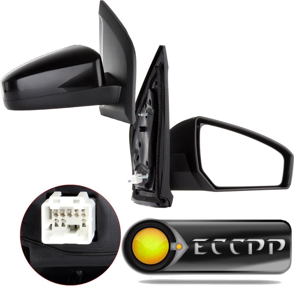 ECCPP Towing Mirror Replacement fit for 2007 2008 2009 2010 2011 2012 Nissan Sentra Black Power Pair Mirrors