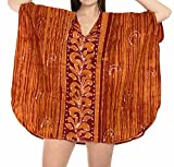 LA LEELA Cotton Batik Short Caftan Vacation Top Orange_1442 OSFM 14-18W [L-2X]