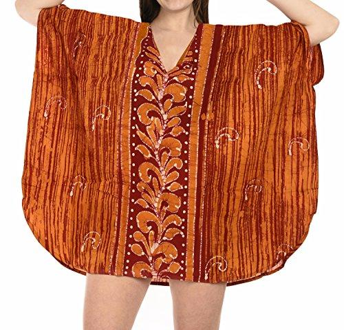 La Leela 100% algodón batik de vestimenta casual vestido de noche corto caftán naranja caftán naranja