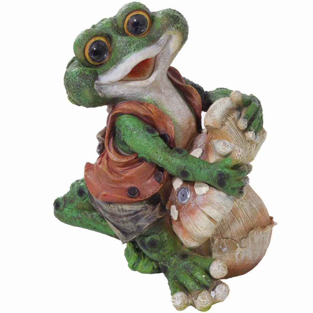 Benzara HomeRoots Polyresin Solar Light Sent Decorative Frog, Multicolor