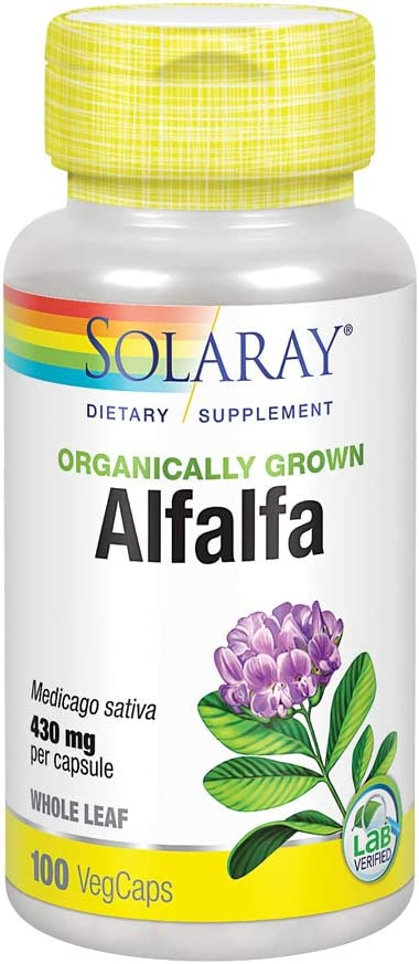 Solaray Organically Grown Alfalfa Leaf 430mg | Vitamin-Rich Superfood w/Fiber & Chlorophyll | Supports Healthy Blood, Kidneys & Digestion | 100ct: Health & Personal Care