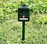 Muhoop Ultrasonic Animal Repeller Solar Bird Repellent Outdoor Waterproof Pest Control Dogs Cats Wild Animals Deterrent Activated Motion PIR Sensor LED Flashing Light Frequency Adjustable