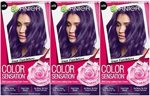 Garnier Hair Color Sensation Hair Cream, Grape Expectations, (Pack of 3)