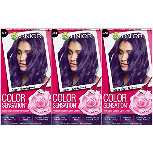 Garnier Hair Color Sensation Hair Cream, Grape Expectations, 3 Count (Dark And Lovely Go Intense Passion Plum)