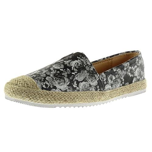 Angkorly - Zapatillas Moda Alpargatas Mocasines Suela de Zapatillas Mujer Flores Cuerda tacón Plano 2 CM: Amazon.es: Zapatos y complementos