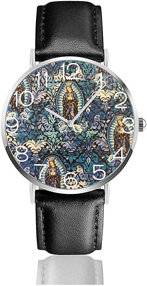Reloj Reloj de Pulsera Virgen María Religiosa Católica Clásica Casual Reloj de Cuarzo Relojes para Hombres Mujeres