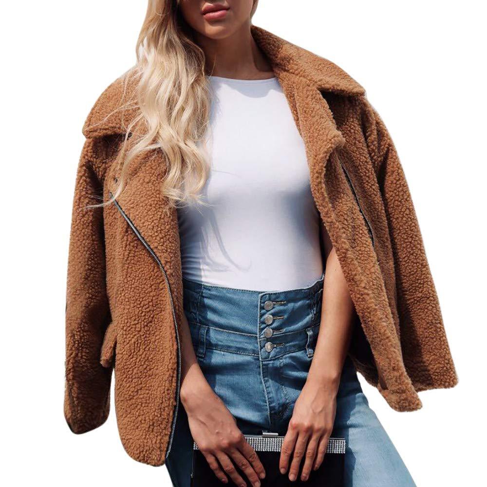 HHei_K Womens Sexy Solid Long Sleeve Turn-Down Collar Loose Artificial Wool Zipper Up Cardigan Coat Pockets Jacket