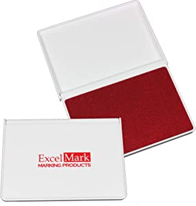 """ExcelMark Ink Pad for Rubber Stamps 2-1/8"""" by 3-1/4"""" (Red Ink) - 2 Pack"""