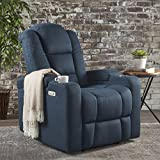 Everette Power Motion Recliner with USB Charging Port & Hidden Arm Storage, Assisted Reclining Furniture for Elderly & Disabled – Durable Tufted Navy Blue Fabric, Comfortable, Easy to Clean