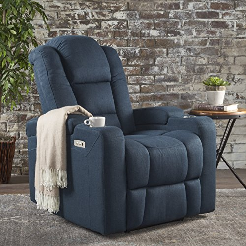 Everette Power Motion Recliner with USB Charging Port & Hidden Arm Storage, Assisted Reclining Furniture for Elderly & Disabled – Durable Tufted Navy Blue Fabric, Comfortable, Easy to Clean Electric Recliner Power Lift Chair