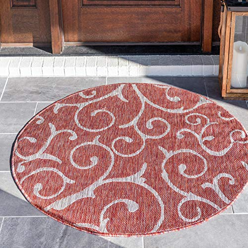 Unique Loom Outdoor Botanical Collection Vine Floral Transitional Indoor  and Outdoor Flatweave Rust Red Round Rug (4' x 4')