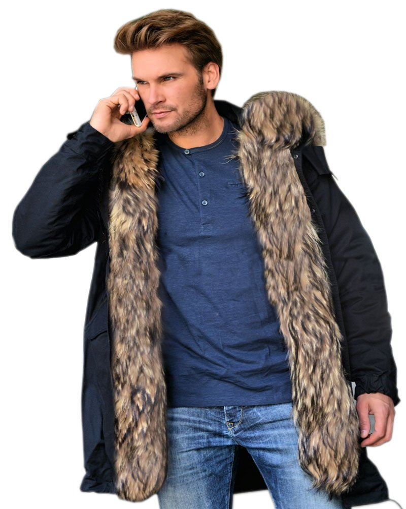 Roiii Mens Winter Warm Thick Faux Fur Waterproof Outdoor Hood Parka Long Trench Jacket Over Coat Plus Size S-3XL (Medium, Black)