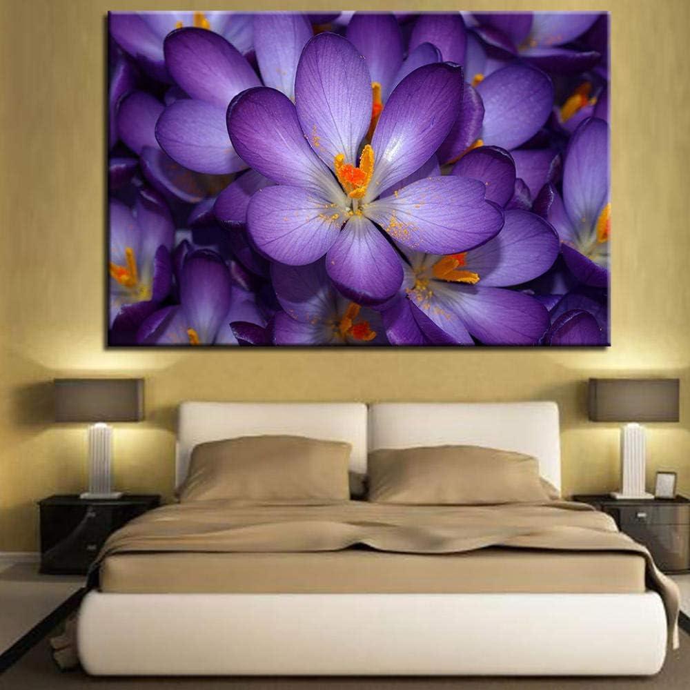 QLCUY HD Cuadro Moderno Imprimir En Lienzo Flores Misteriosas Moradas Pared Arte Cartel Decoración del Hogar para La Sala De Estar Dormitorio Comedor Sin Marco