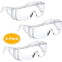 Safety Glasses Protective Goggles,Clear Lens Eyewear,High Impact,Vented Sides 3 Pack