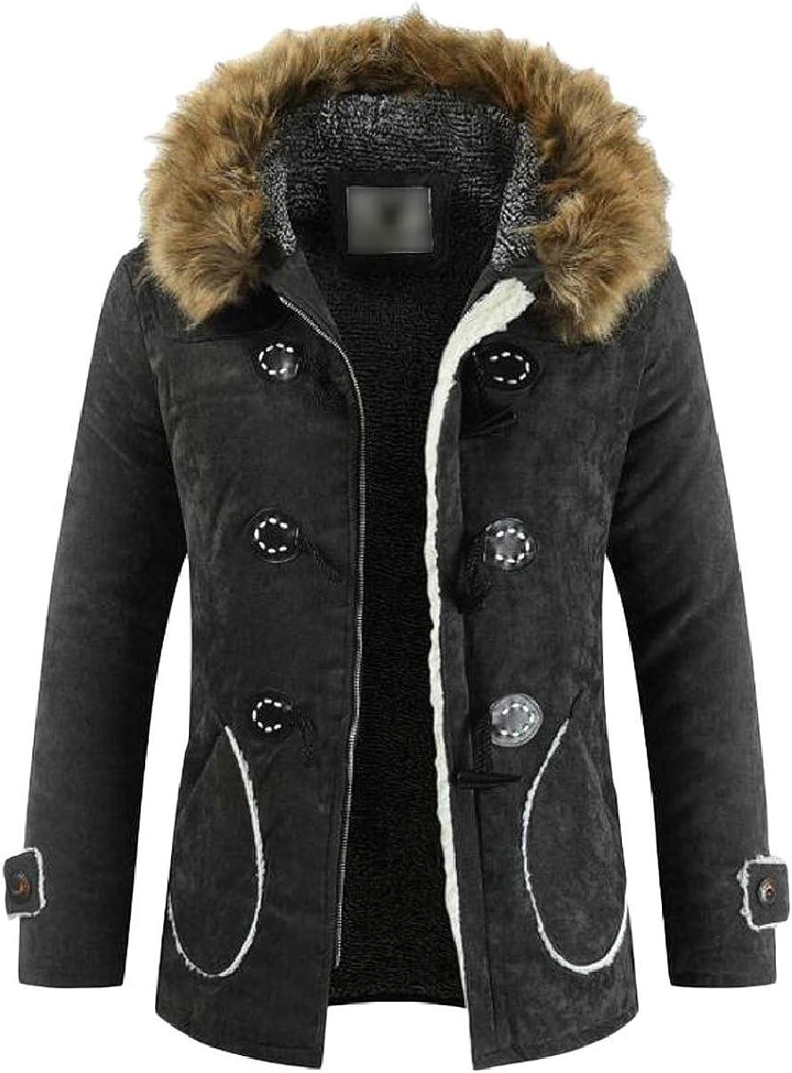 ZXFHZS Men Faux Fur Lined Solid Thicken Windproof Jacket Fuax Fur Hoodie Coat Black XS