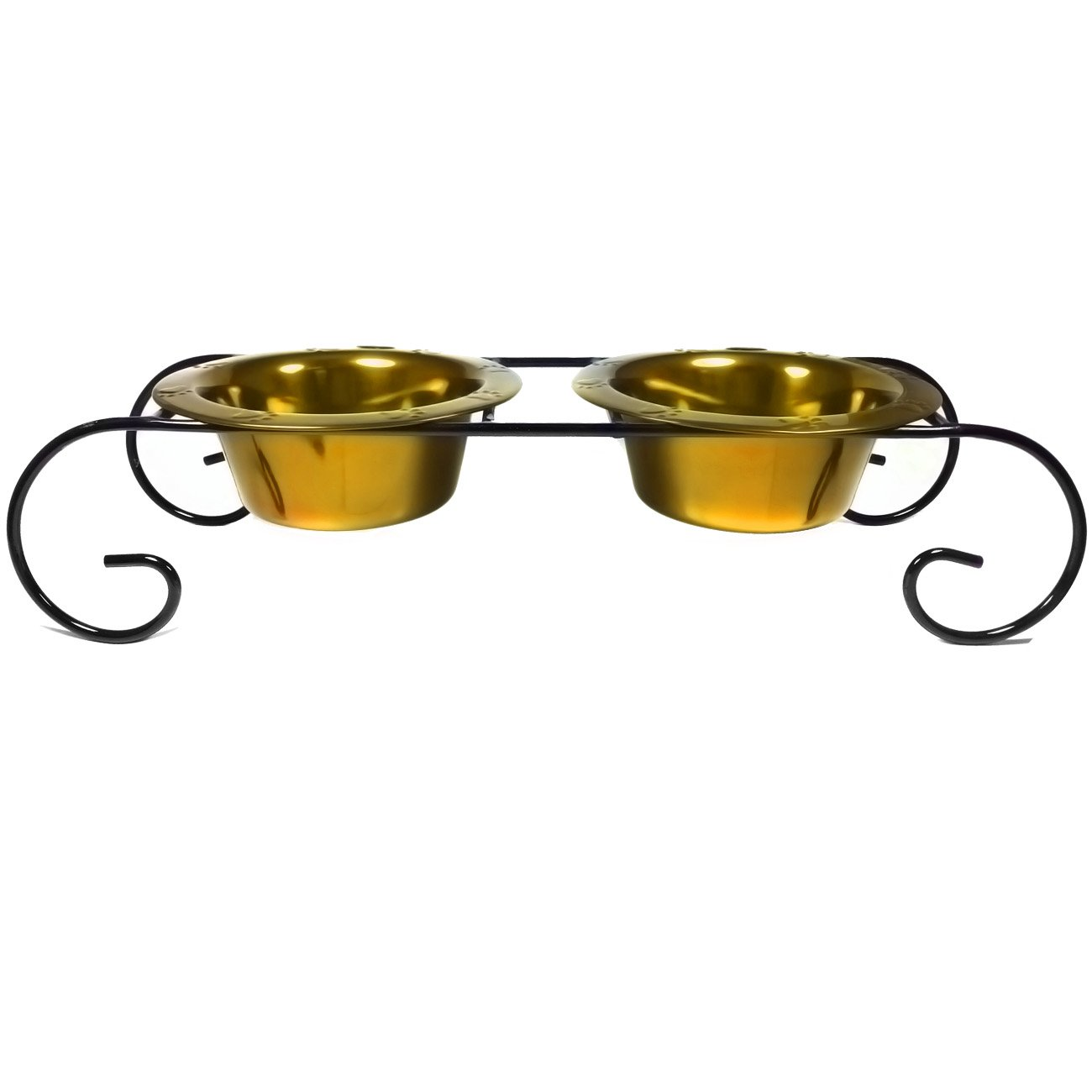 Platinum Pets Double Diner Low Feeder with Scroll Stand, 12-Ounce, Gold