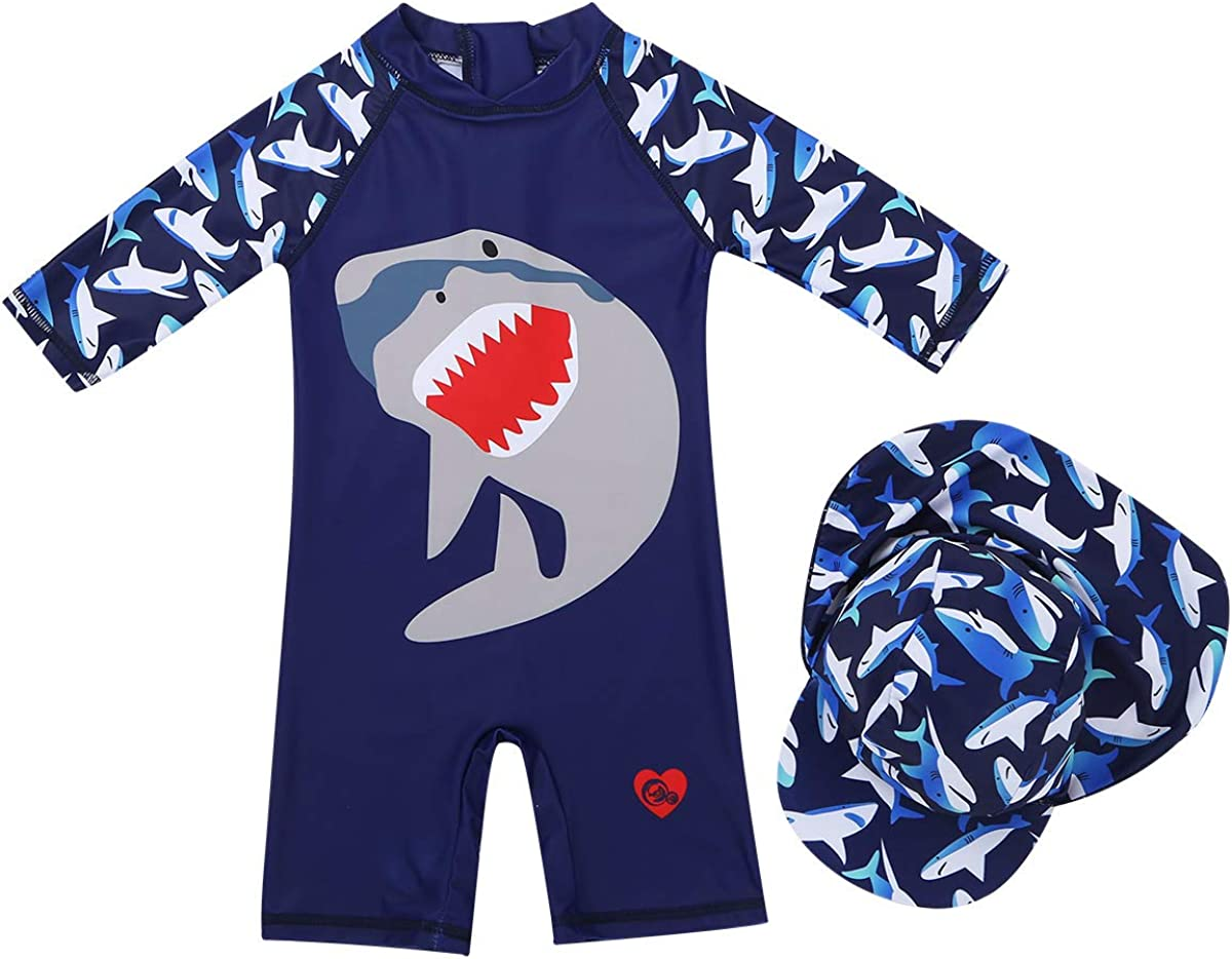 UV All-in-One Swimwear Sun Protection Suit with Cap Short Sleeve Swimming Costume Freebily Baby Boys UPF 50