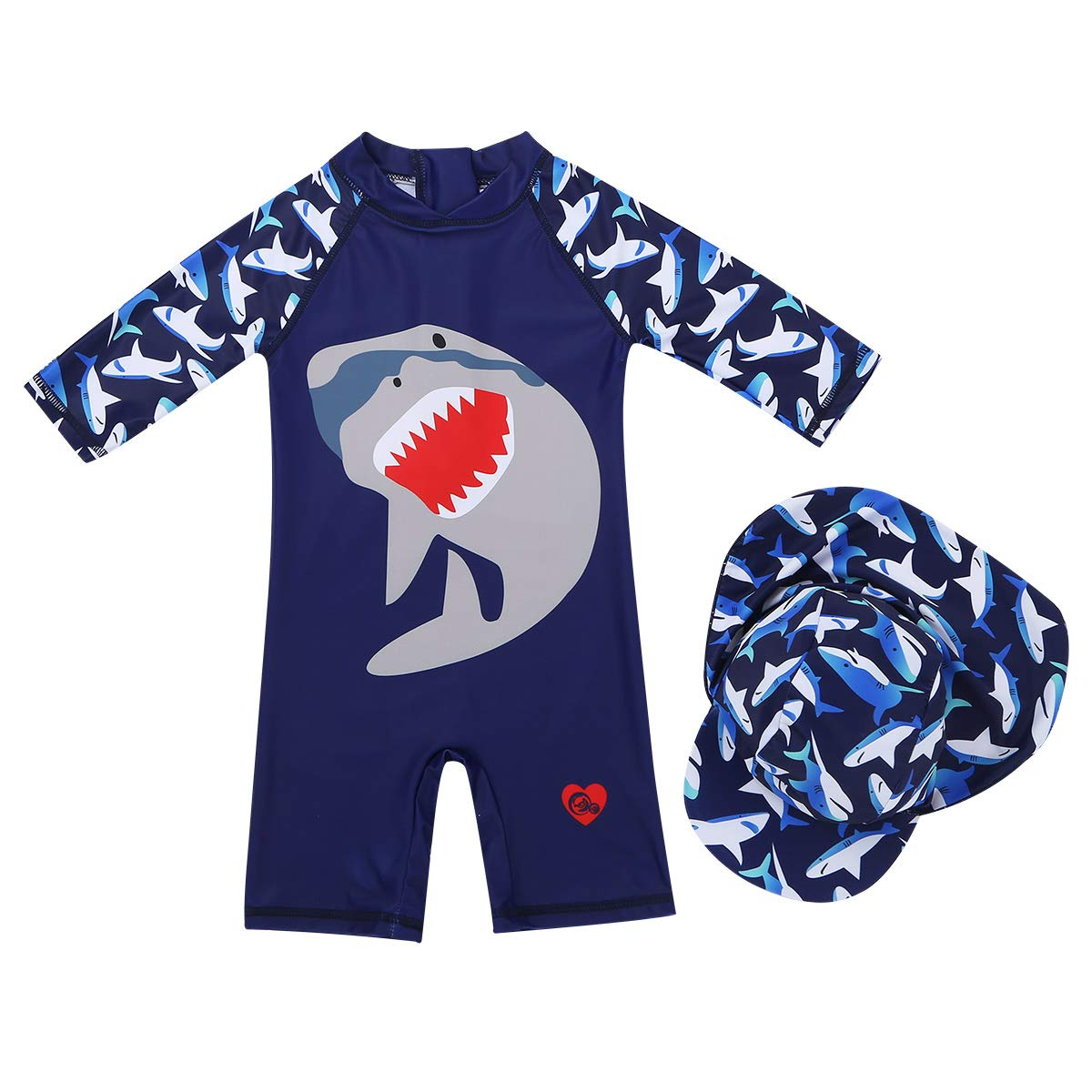 MSemis Toddler Baby Boys Shark One-Piece Zipper Swimsuit Bathing Suit Rash Guard Shirt with Hat Surfing Swim Costume