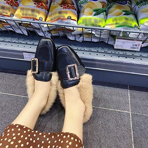 1 Filles Plates Hiver Pour Femme Bozevon En Coton Noir Anti Chaussure style Chaussures dérapantes vOg8waq