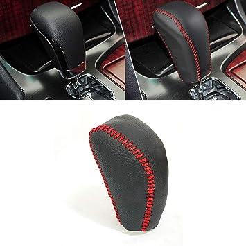 Image ofFunda de Palanca de Cambios de Cuero Protector para Crown 2010-2014 automatico pomos Palanca de Cambios DSG Shifter con Costuras en Rojo Tipo L