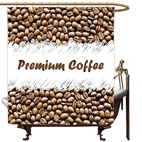 MaryMunger Long Shower Curtain Coffee Freshly Roasted Arabica Beans Premium Quality Doodle White Border Being Robust Polyester Fabric Waterproof W72x84L Cocoa White