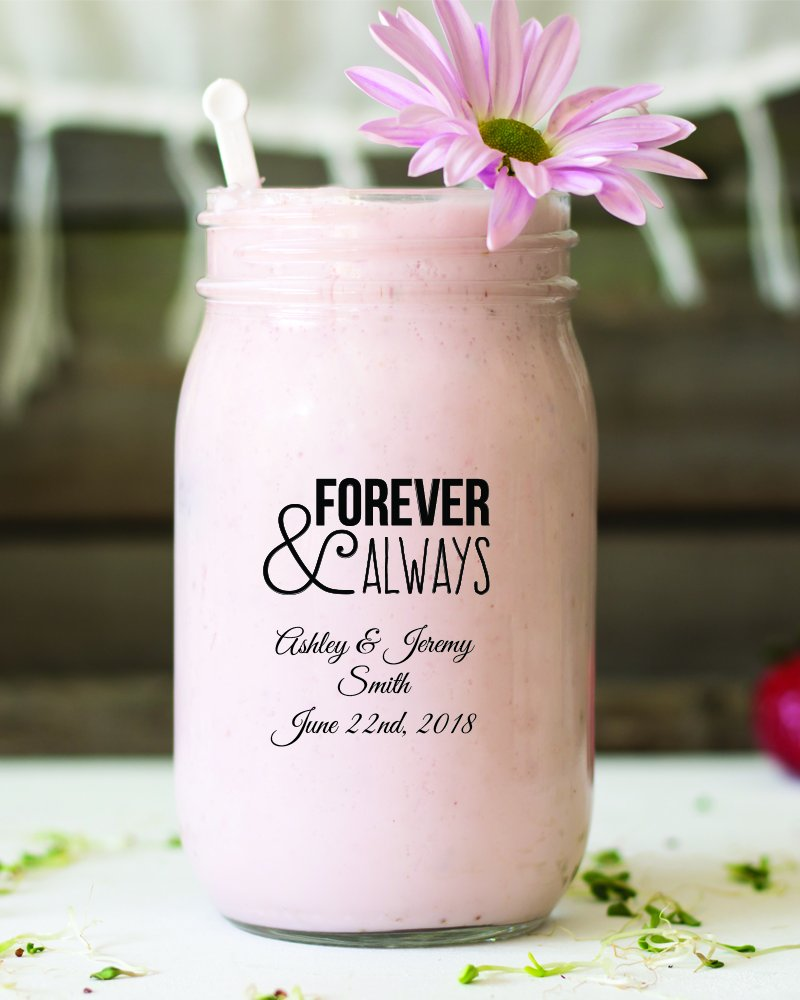 Forever and Always 16 Oz Mason Jar, Pub Pint Glass, 48 Count Black Printed Personalized Beer Glasses, Housewarming Gifts For New Home Anniversary Gift