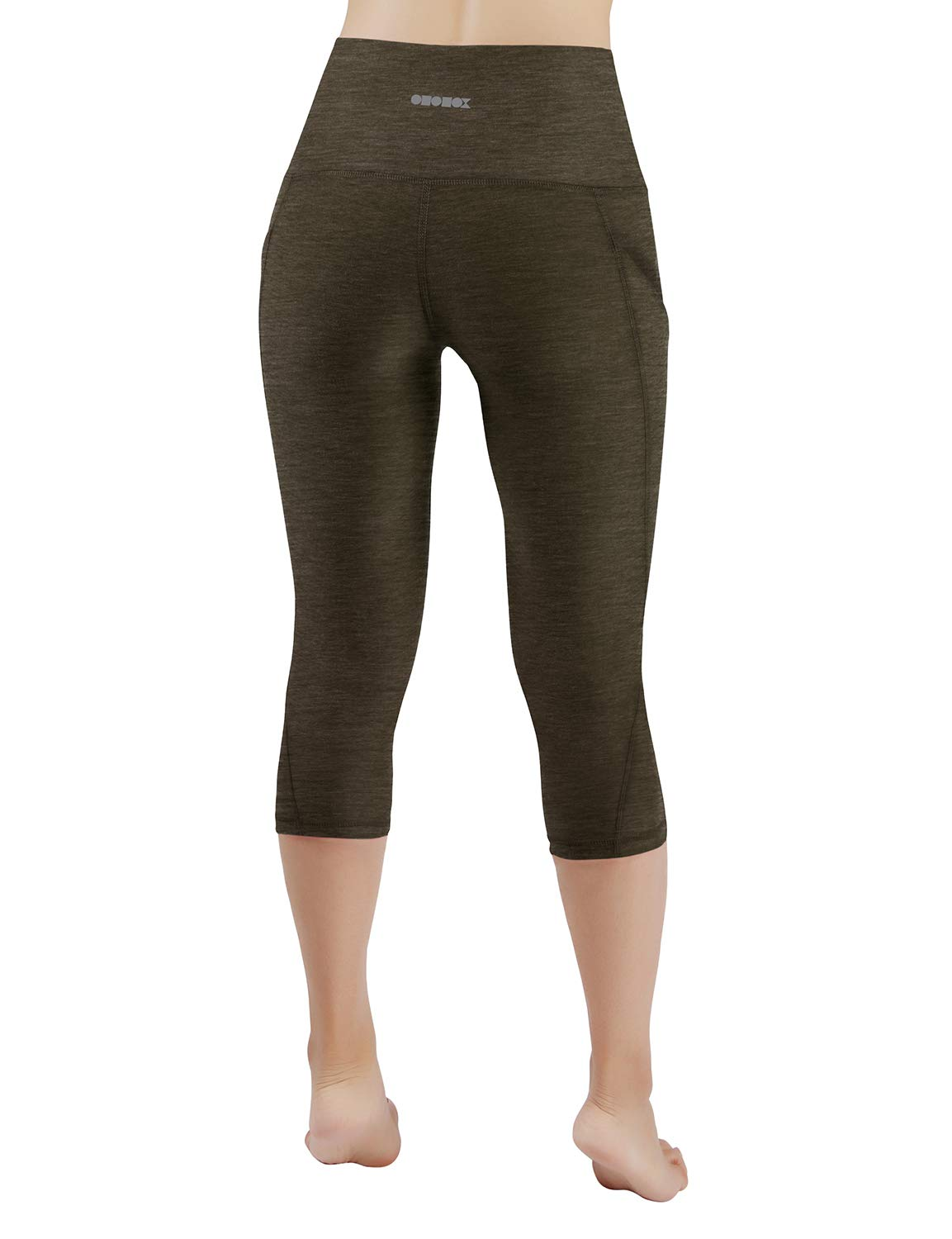 ODODOS High Waist Out Pocket Yoga Capris Pants Tummy Control Workout Running 4 Way Stretch Yoga Leggings,Olive,X-Small by ODODOS (Image #3)