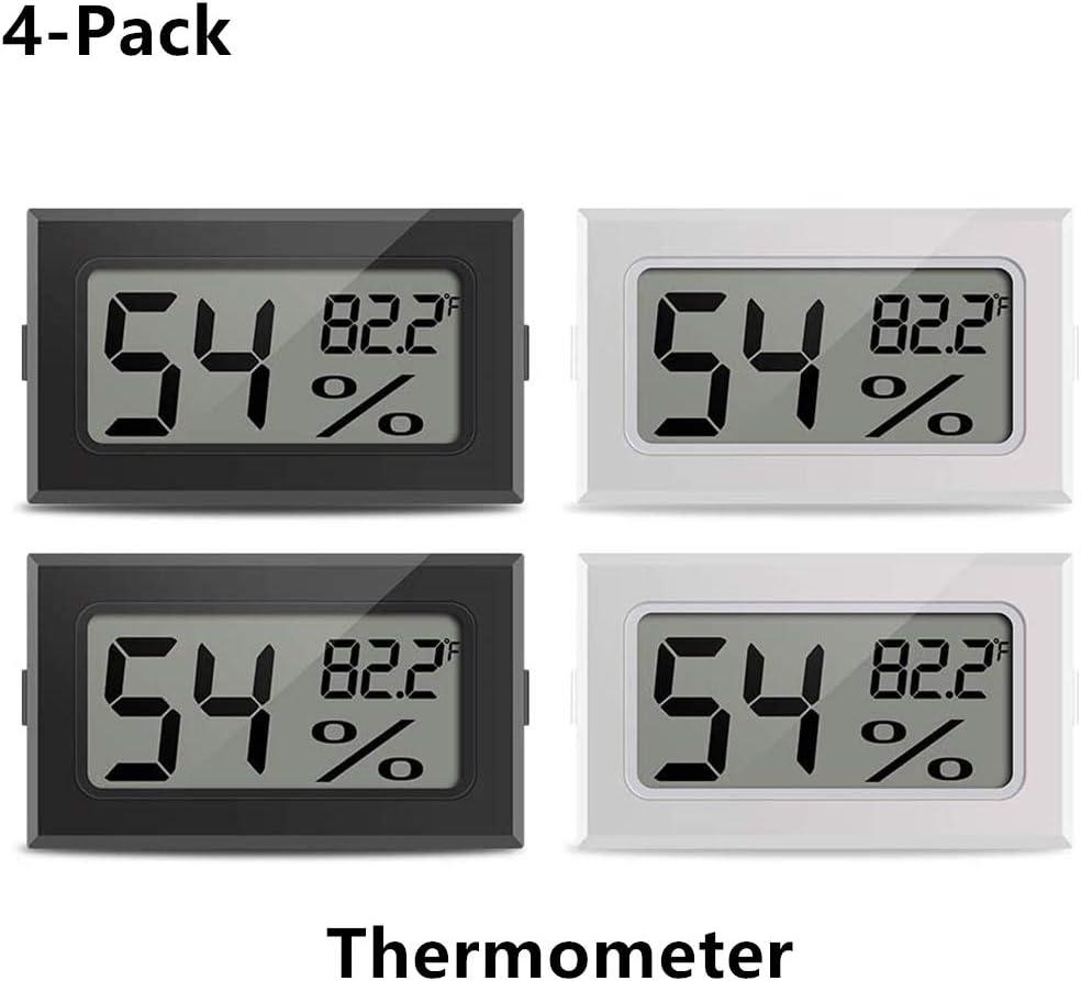 ZHITING Mini termómetro higrómetro interior digital electrónico reptil temperatura medidor de humedad medidor medidor medidor de humidores, invernadero, jardín, bodega,armario, paquete de 4