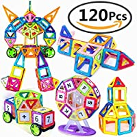 Magnetic Building Blocks, Magnets Blocks Educational Stacking Blocks Toddler Toys Construction Stacking Kids Toys Educational and Creative Imagination Development Toys for Toddlers and Kids, ABS Plastic, Instruction Booklet Included